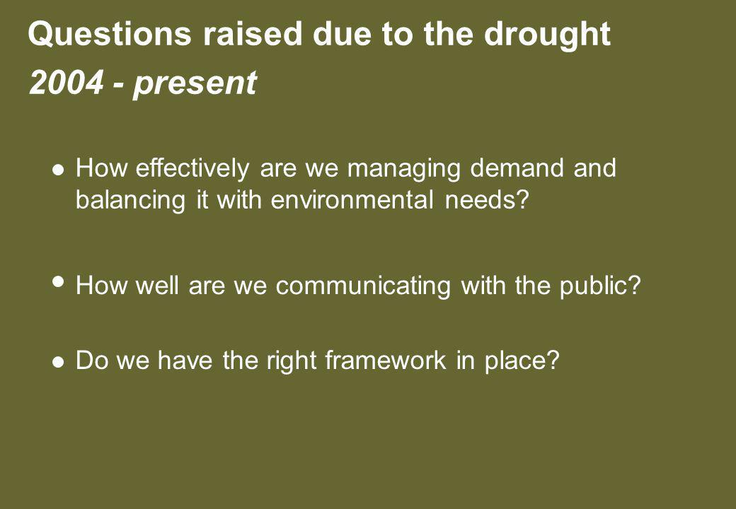 Questions raised due to the drought present How effectively are we managing demand and balancing it with environmental needs.