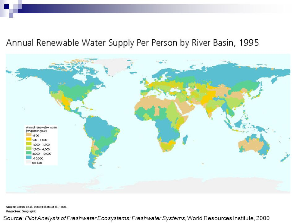 Source: Pilot Analysis of Freshwater Ecosystems: Freshwater Systems, World Resources Institute, 2000