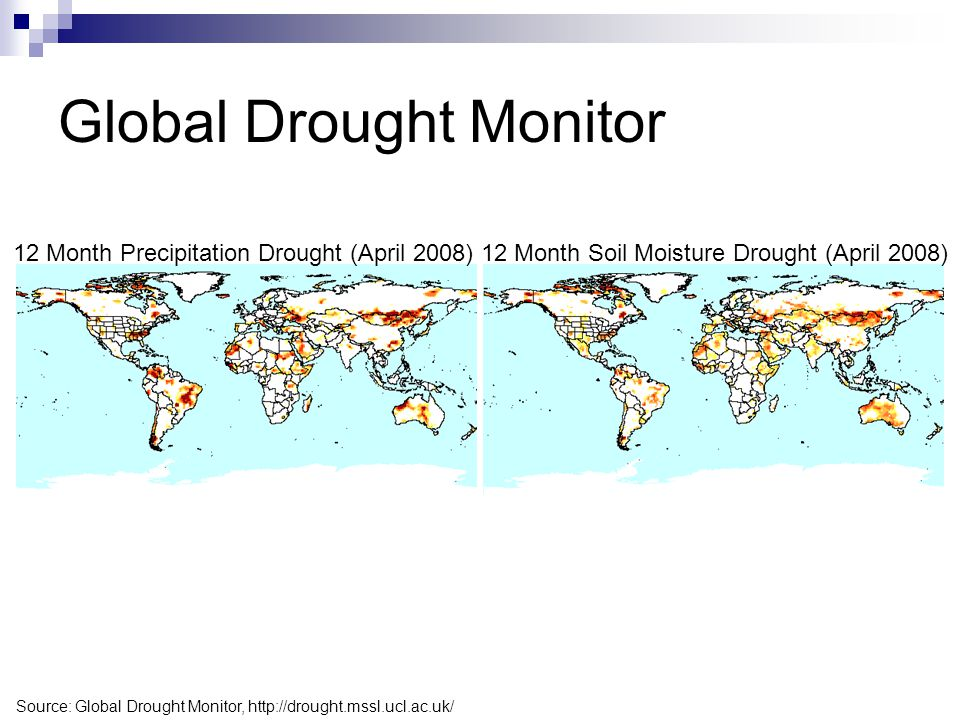 Global Drought Monitor 12 Month Precipitation Drought (April 2008)12 Month Soil Moisture Drought (April 2008) Source: Global Drought Monitor, http://d