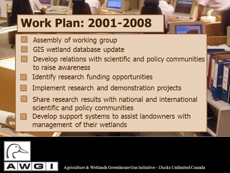 Agriculture & Wetlands Greenhouse Gas Initiative – Ducks Unlimited Canada Work Plan: 2001-2008 Assembly of working group GIS wetland database update Develop relations with scientific and policy communities to raise awareness Implement research and demonstration projects Share research results with national and international scientific and policy communities Identify research funding opportunities Develop support systems to assist landowners with management of their wetlands