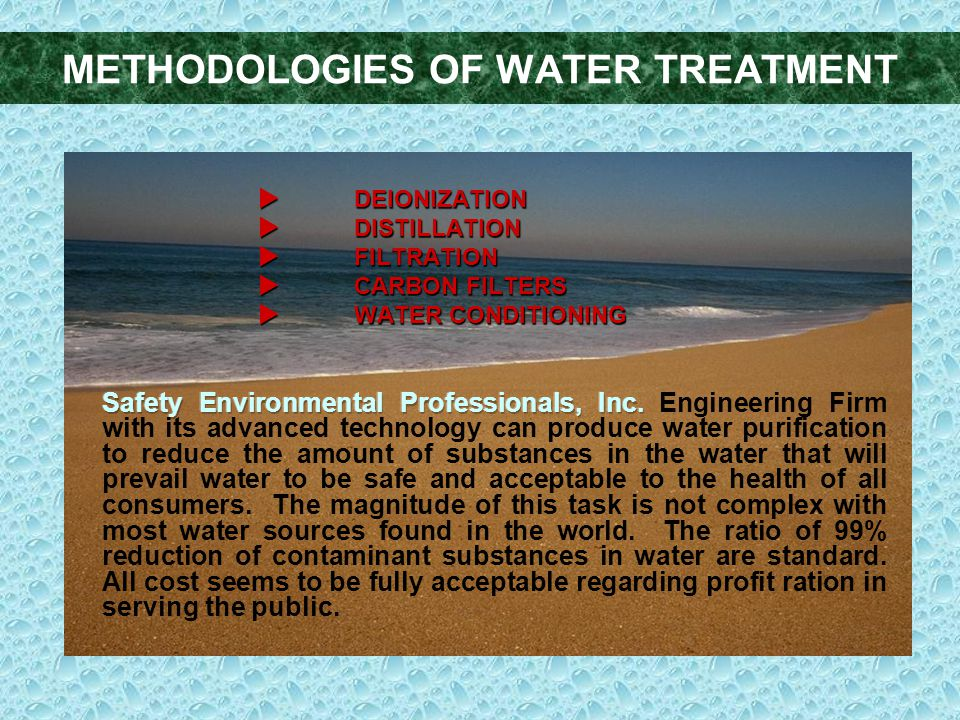 METHODOLOGIES OF WATER TREATMENT