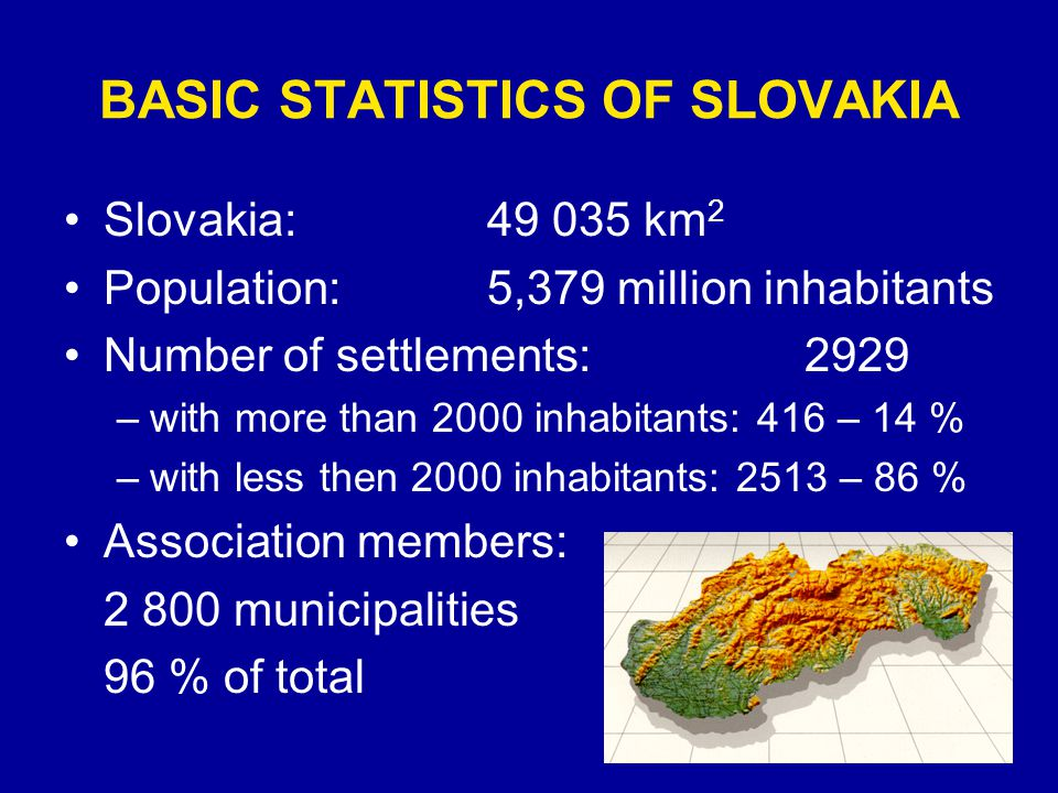 BASIC STATISTICS OF SLOVAKIA Slovakia:49 035 km 2 Population:5,379 million inhabitants Number of settlements:2929 –with more than 2000 inhabitants: 416 – 14 % –with less then 2000 inhabitants: 2513 – 86 % Association members: 2 800 municipalities 96 % of total