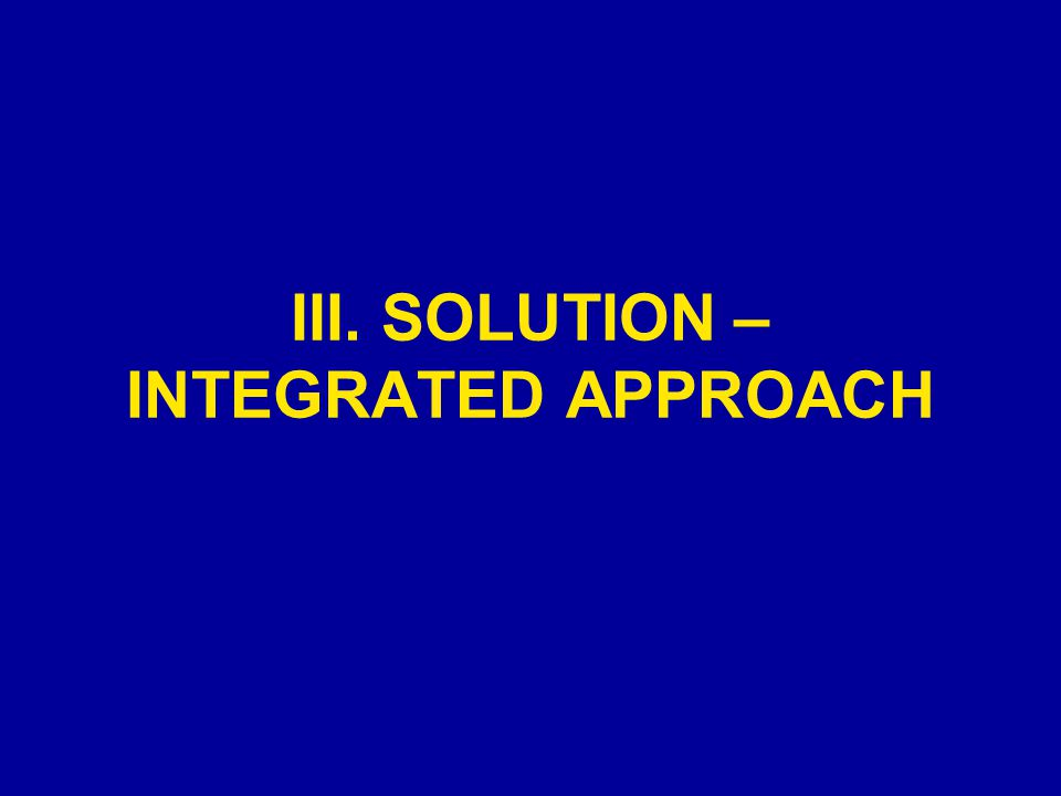 III. SOLUTION – INTEGRATED APPROACH
