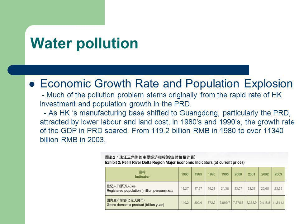 Economic Growth Rate and Population Explosion - Much of the pollution problem stems originally from the rapid rate of HK investment and population gro