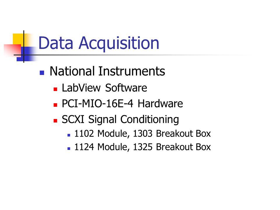 Data Acquisition National Instruments LabView Software PCI-MIO-16E-4 Hardware SCXI Signal Conditioning 1102 Module, 1303 Breakout Box 1124 Module, 1325 Breakout Box