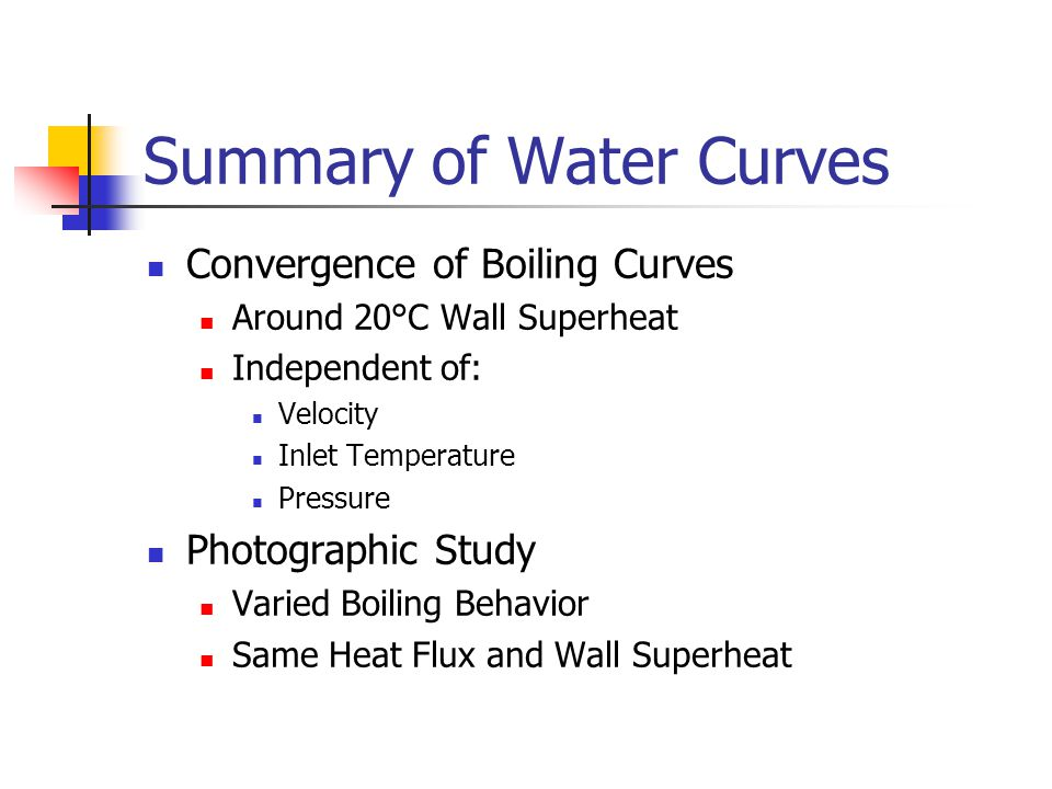 Summary of Water Curves Convergence of Boiling Curves Around 20°C Wall Superheat Independent of: Velocity Inlet Temperature Pressure Photographic Study Varied Boiling Behavior Same Heat Flux and Wall Superheat