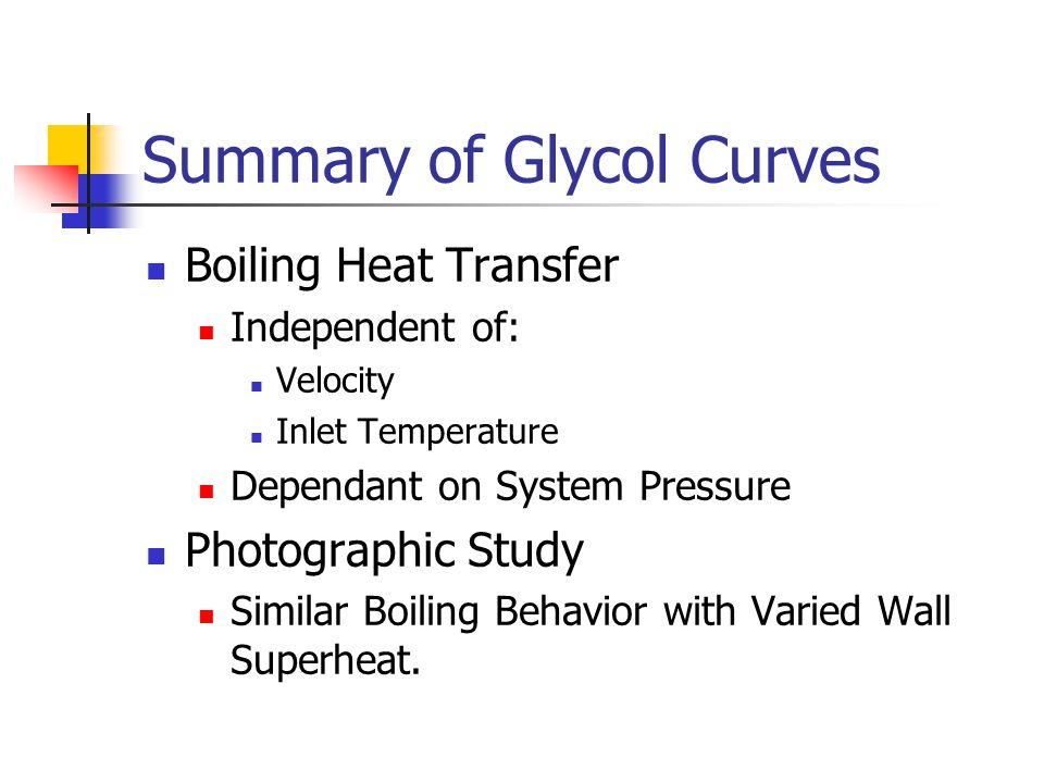 Summary of Glycol Curves Boiling Heat Transfer Independent of: Velocity Inlet Temperature Dependant on System Pressure Photographic Study Similar Boiling Behavior with Varied Wall Superheat.