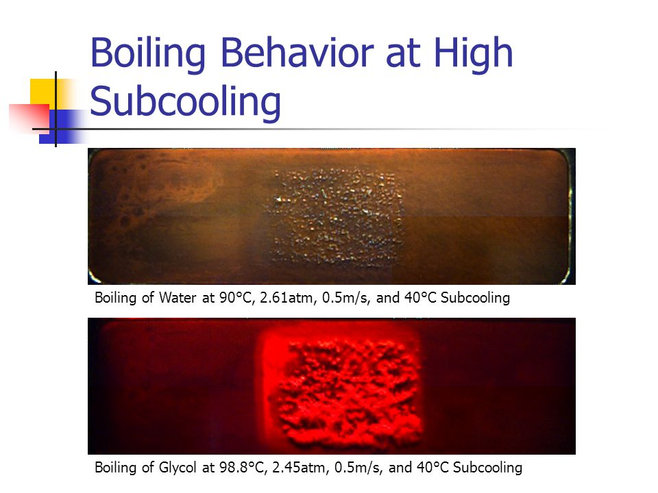 Boiling Behavior at High Subcooling Boiling of Water at 90°C, 2.61atm, 0.5m/s, and 40°C Subcooling Boiling of Glycol at 98.8°C, 2.45atm, 0.5m/s, and 40°C Subcooling
