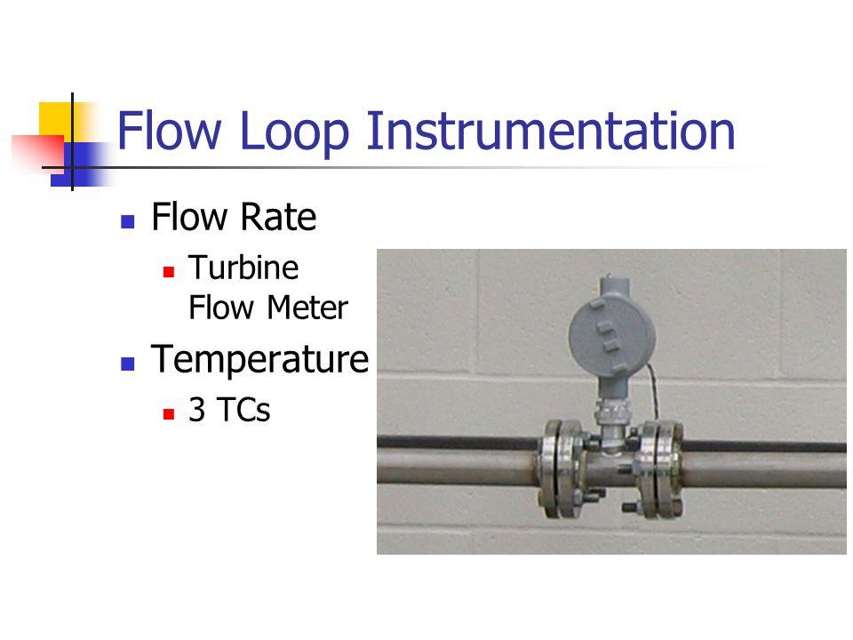 Flow Loop Instrumentation Flow Rate Turbine Flow Meter Temperature 3 TCs