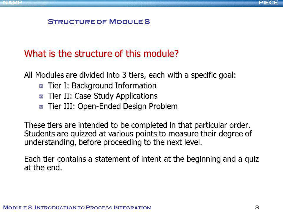 PIECENAMP Module 8: Introduction to Process Integration 3 What is the structure of this module.