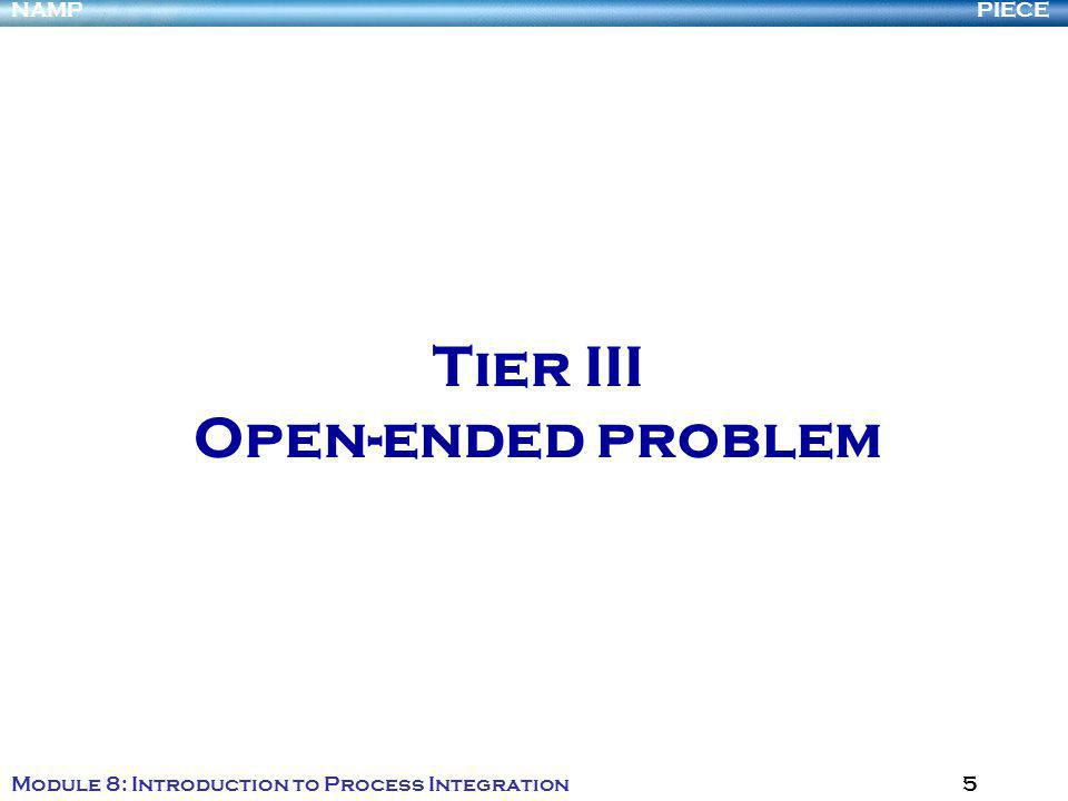 PIECENAMP Module 8: Introduction to Process Integration 5 Tier III Open-ended problem