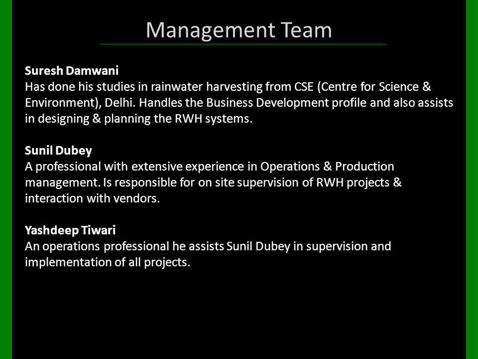 Management Team Suresh Damwani Has done his studies in rainwater harvesting from CSE (Centre for Science & Environment), Delhi. Handles the Business D
