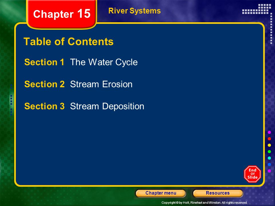 Copyright © by Holt, Rinehart and Winston. All rights reserved. ResourcesChapter menu River Systems Chapter 15 Table of Contents Section 1 The Water C