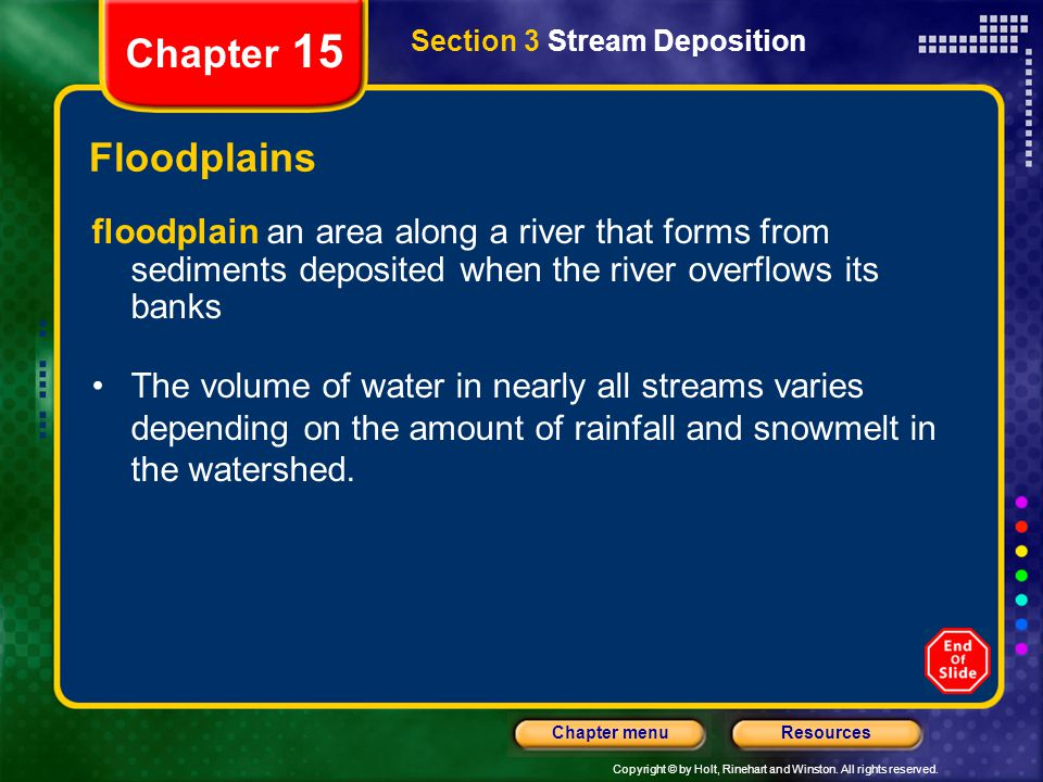 Copyright © by Holt, Rinehart and Winston. All rights reserved. ResourcesChapter menu Chapter 15 Floodplains floodplain an area along a river that for