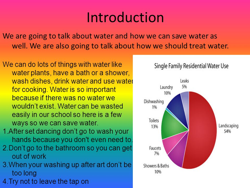 Introduction We are going to talk about water and how we can save water as well.