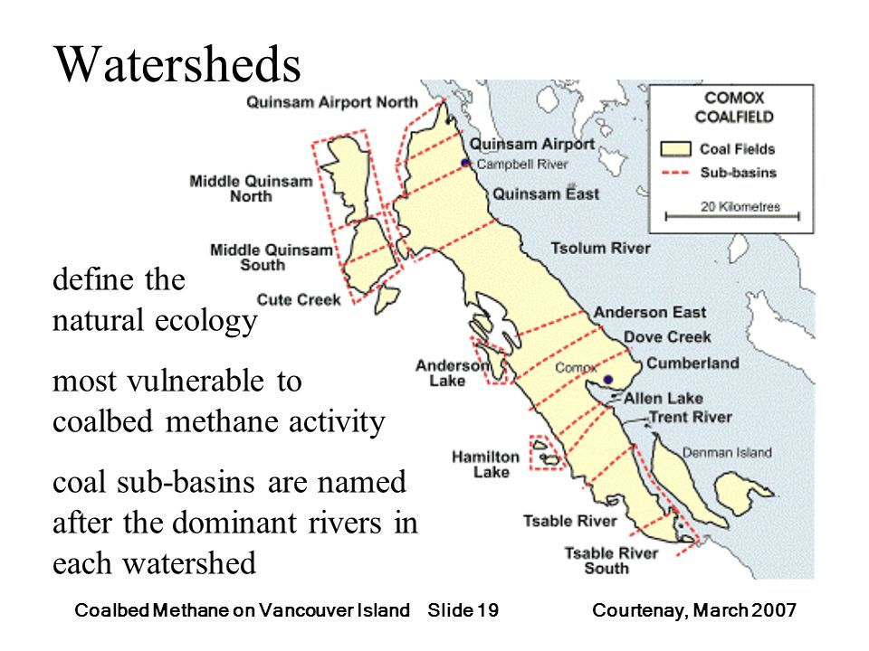 Slide 19Coalbed Methane on Vancouver Island Courtenay, March 2007 Watersheds define the natural ecology most vulnerable to coalbed methane activity co