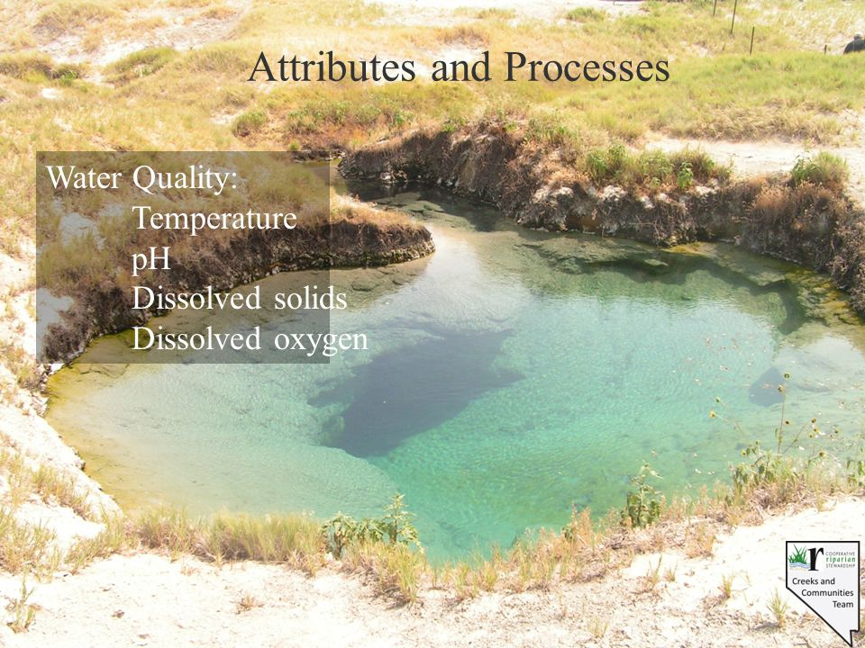 Attributes and Processes Water Quality: Temperature pH Dissolved solids Dissolved oxygen
