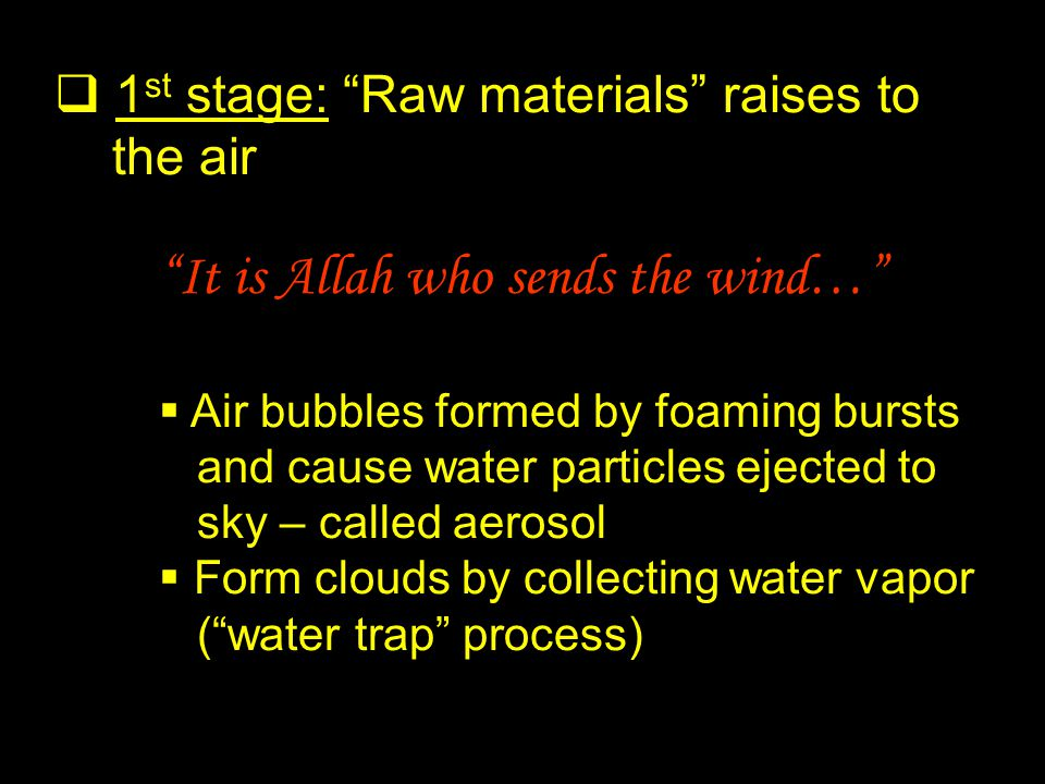 2 nd stage: Clouds are formed And they raise the Clouds: then does He spread them in the sky as He wills, and break them into fragments… Form clouds by collecting water vapor that condenses around the salt crystals or dust particles The clouds are very small (0.01mm) – suspended in the air and fills the sky Sky covered with clouds