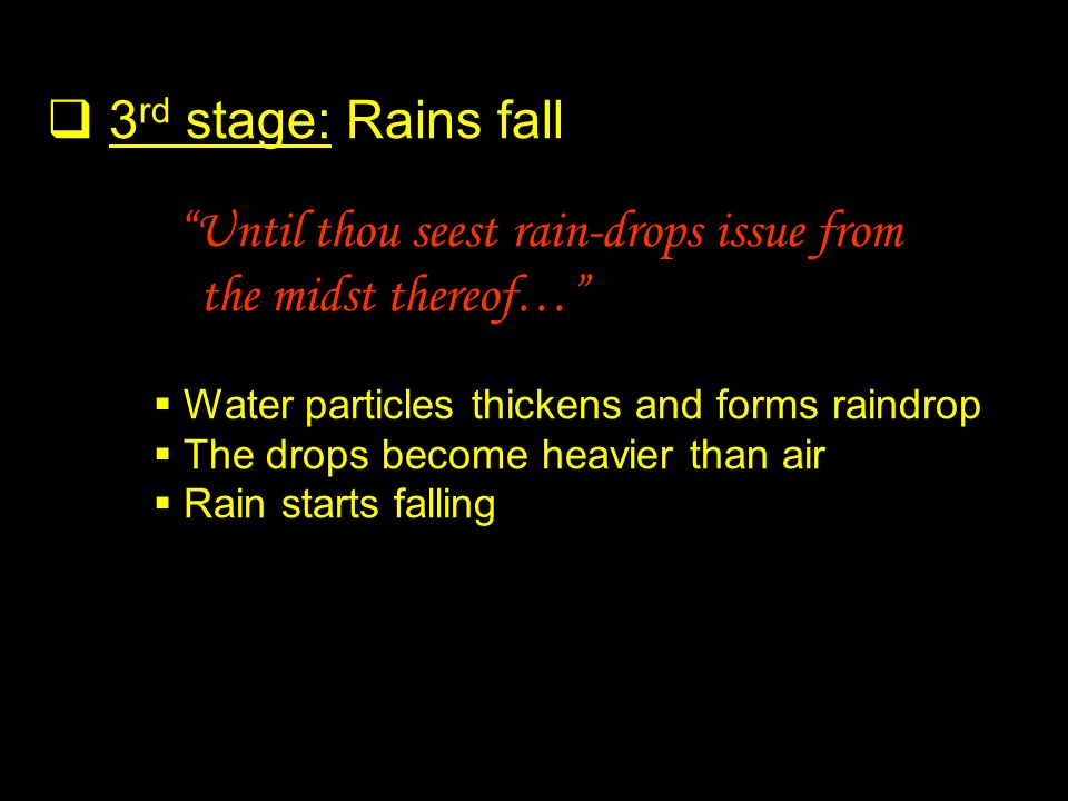 3 rd stage: Rains fall Until thou seest rain-drops issue from the midst thereof… Water particles thickens and forms raindrop The drops become heavier than air Rain starts falling
