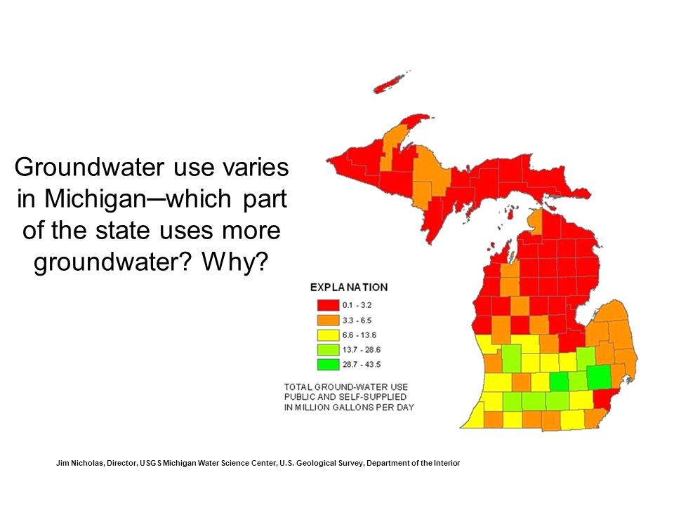 Groundwater use varies in Michiganwhich part of the state uses more groundwater.