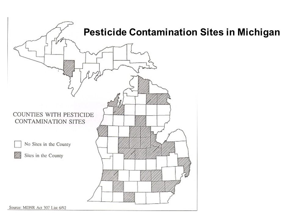 Pesticide Contamination Sites in Michigan