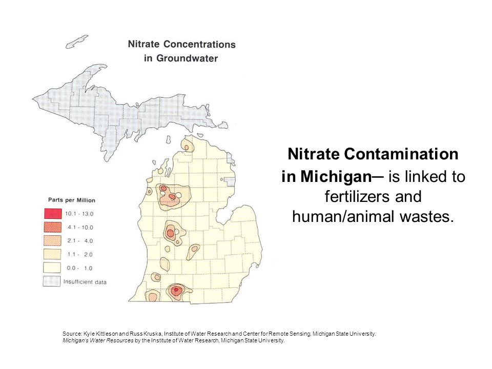 Nitrate Contamination in Michigan is linked to fertilizers and human/animal wastes.