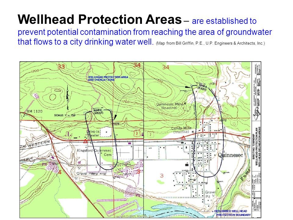Wellhead Protection Areas – are established to prevent potential contamination from reaching the area of groundwater that flows to a city drinking water well.