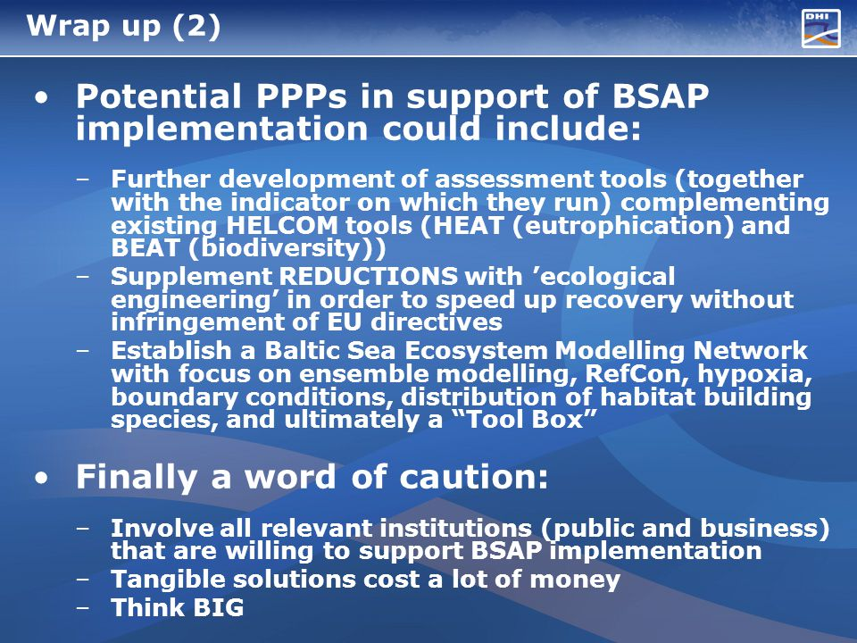 Wrap up (2) Potential PPPs in support of BSAP implementation could include: –Further development of assessment tools (together with the indicator on which they run) complementing existing HELCOM tools (HEAT (eutrophication) and BEAT (biodiversity)) –Supplement REDUCTIONS with ecological engineering in order to speed up recovery without infringement of EU directives –Establish a Baltic Sea Ecosystem Modelling Network with focus on ensemble modelling, RefCon, hypoxia, boundary conditions, distribution of habitat building species, and ultimately a Tool Box Finally a word of caution: –Involve all relevant institutions (public and business) that are willing to support BSAP implementation –Tangible solutions cost a lot of money –Think BIG