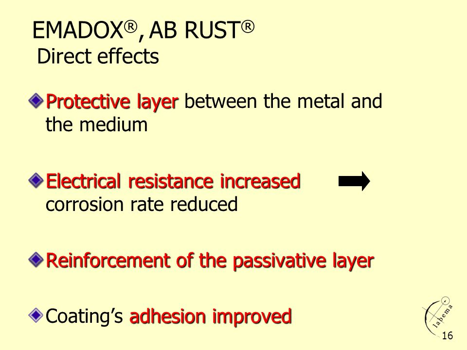 EMADOX ®, AB RUST ® Direct effects Protective layer Protective layer between the metal and the medium Electrical resistance increased Electrical resis