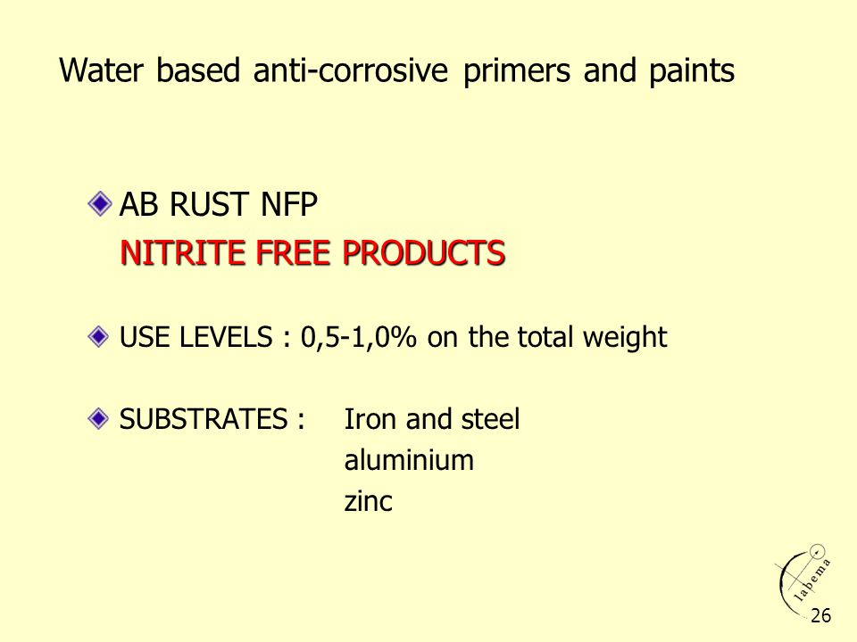 Water based anti-corrosive primers and paints AB RUST NFP NITRITE FREE PRODUCTS USE LEVELS : 0,5-1,0% on the total weight SUBSTRATES : Iron and steel