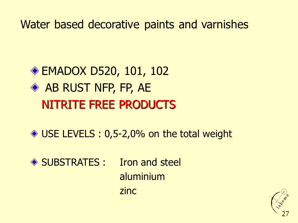 Water based decorative paints and varnishes EMADOX D520, 101, 102 AB RUST NFP, FP, AE NITRITE FREE PRODUCTS USE LEVELS : 0,5-2,0% on the total weight