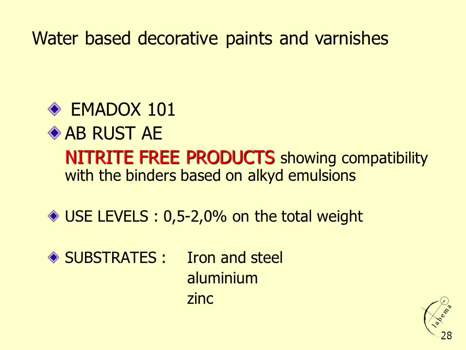 EMADOX 101 AB RUST AE NITRITE FREE PRODUCTS NITRITE FREE PRODUCTS showing compatibility with the binders based on alkyd emulsions USE LEVELS : 0,5-2,0