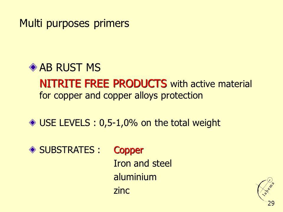 AB RUST MS NITRITE FREE PRODUCTS NITRITE FREE PRODUCTS with active material for copper and copper alloys protection USE LEVELS : 0,5-1,0% on the total