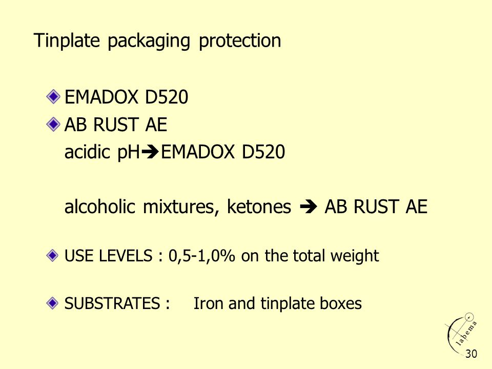 Tinplate packaging protection EMADOX D520 AB RUST AE acidic pH EMADOX D520 alcoholic mixtures, ketones AB RUST AE USE LEVELS : 0,5-1,0% on the total w