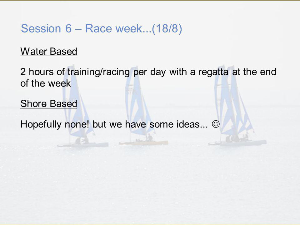 Session 6 – Race week...(18/8) Water Based 2 hours of training/racing per day with a regatta at the end of the week Shore Based Hopefully none.