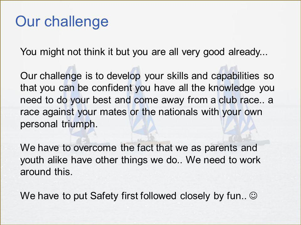 Our challenge You might not think it but you are all very good already...