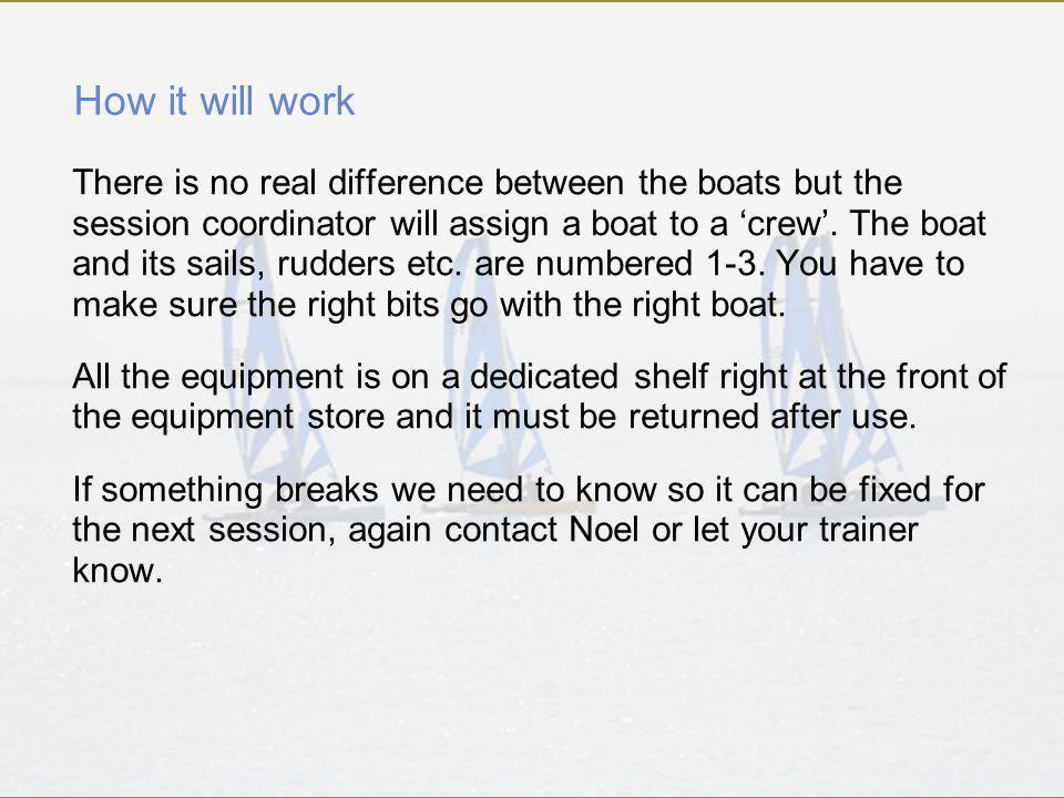 How it will work There is no real difference between the boats but the session coordinator will assign a boat to a crew.