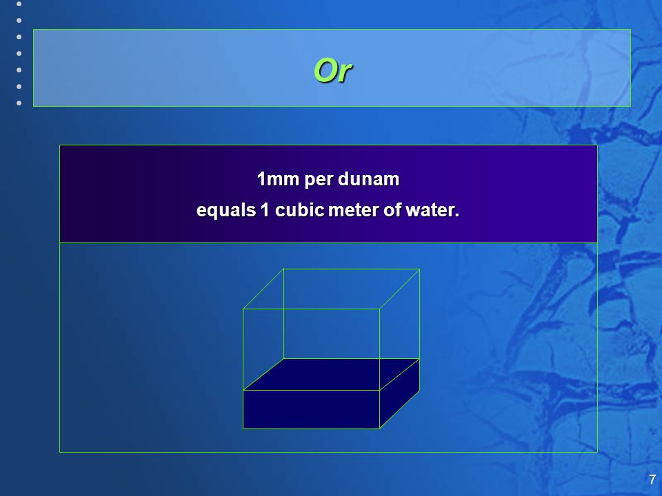 7 1mm per dunam equals 1 cubic meter of water. Or
