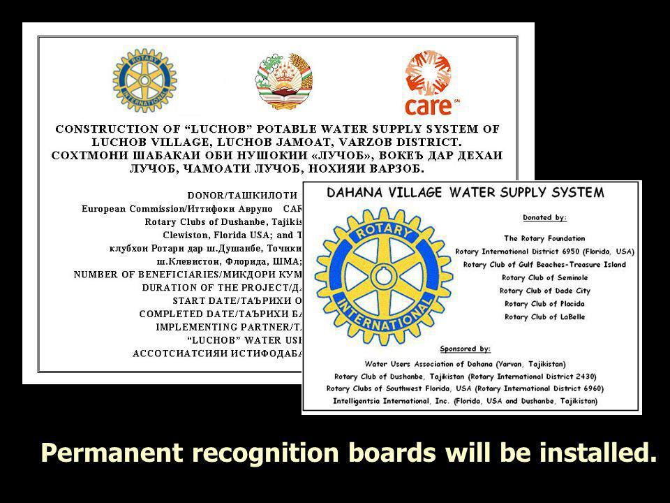 Recognition Boards to be installed Permanent recognition boards will be installed.