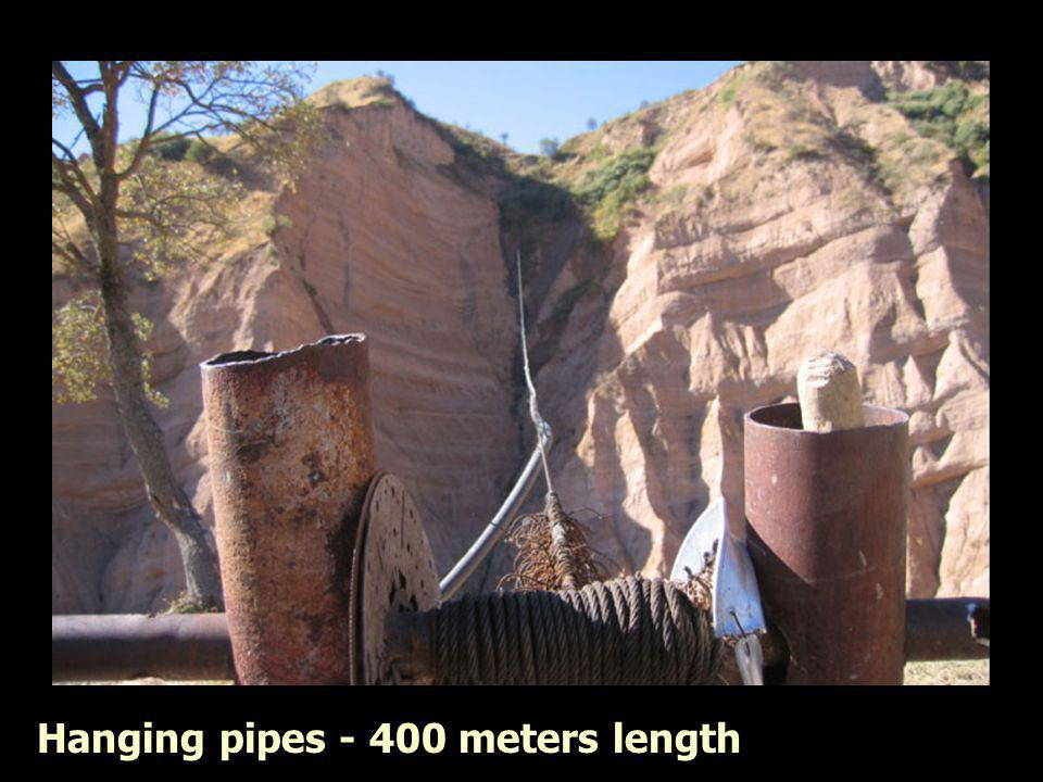 Hanging pipes - 400 meters length