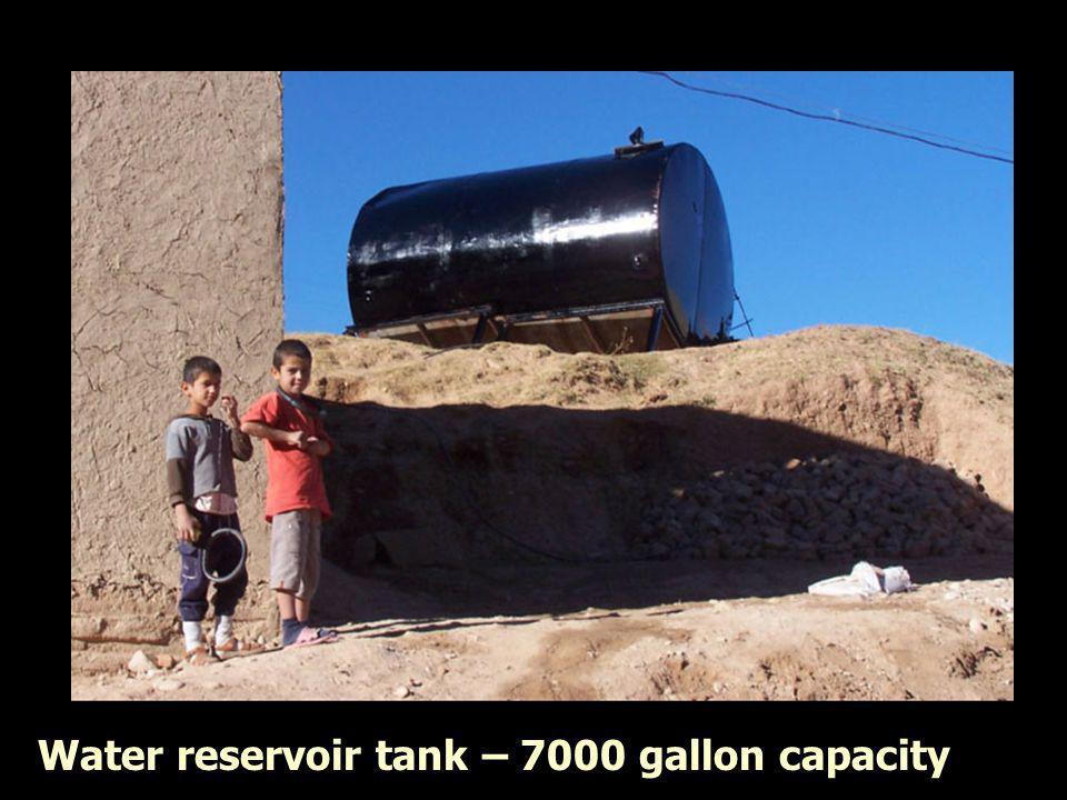 Water reservoir tank – 7000 gallon capacity