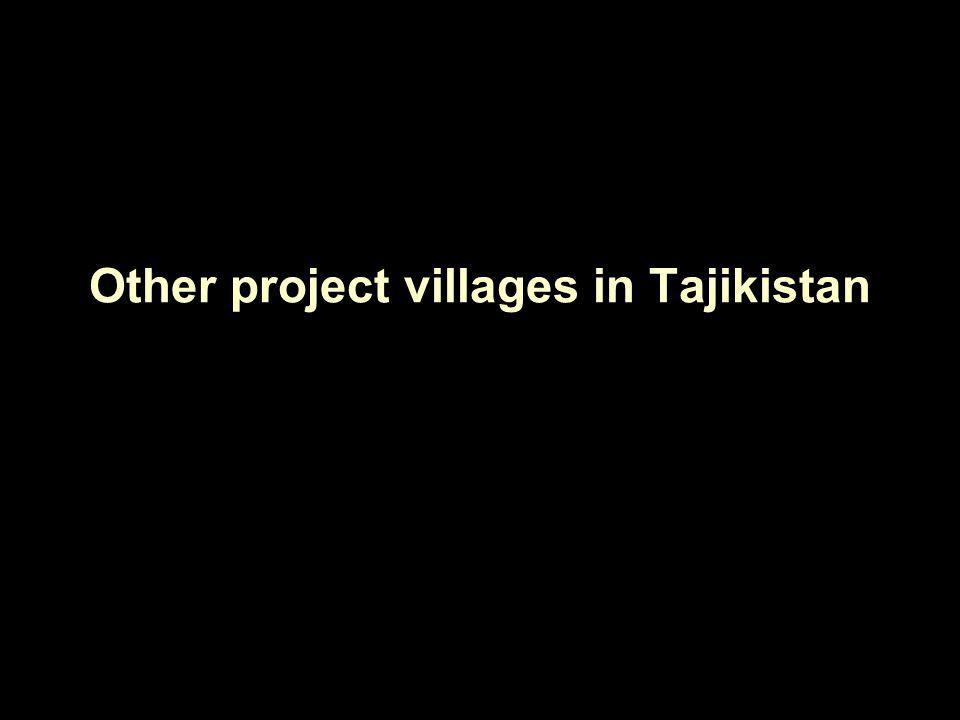Other project villages in Tajikistan
