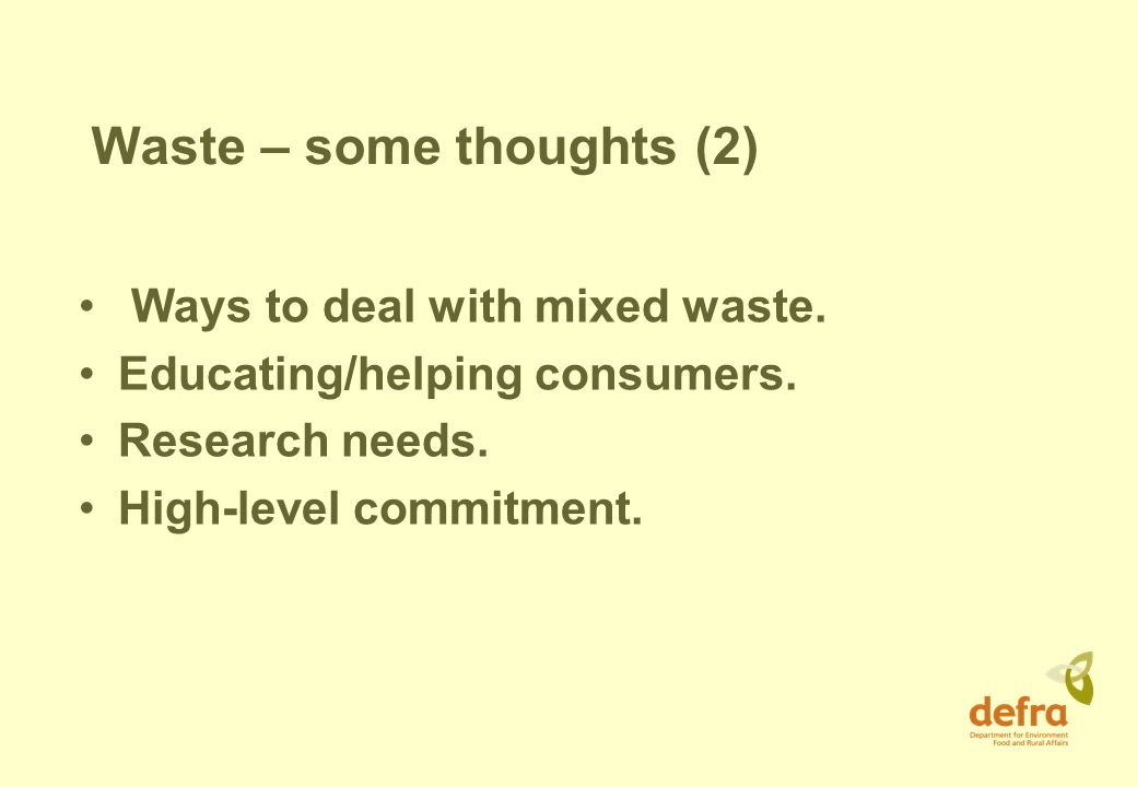 Waste – some thoughts (2) Ways to deal with mixed waste.