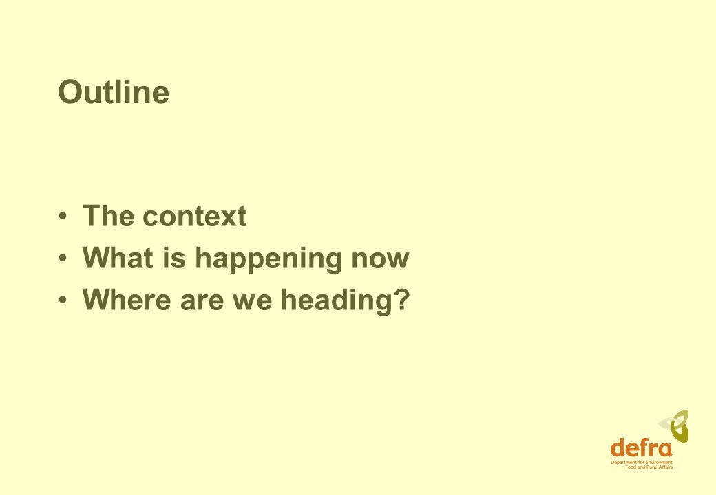 Outline The context What is happening now Where are we heading
