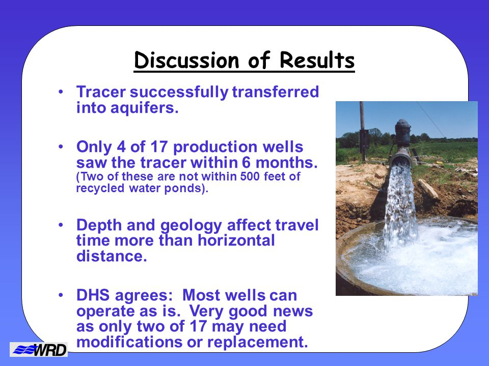 Discussion of Results Tracer successfully transferred into aquifers.