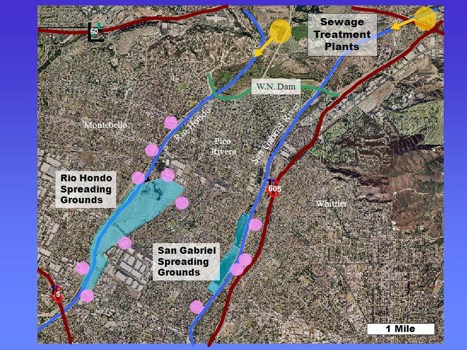 Rio Hondo San Gabriel River 1 Mile Rio Hondo Spreading Grounds San Gabriel Spreading Grounds Sewage Treatment Plants W.N.