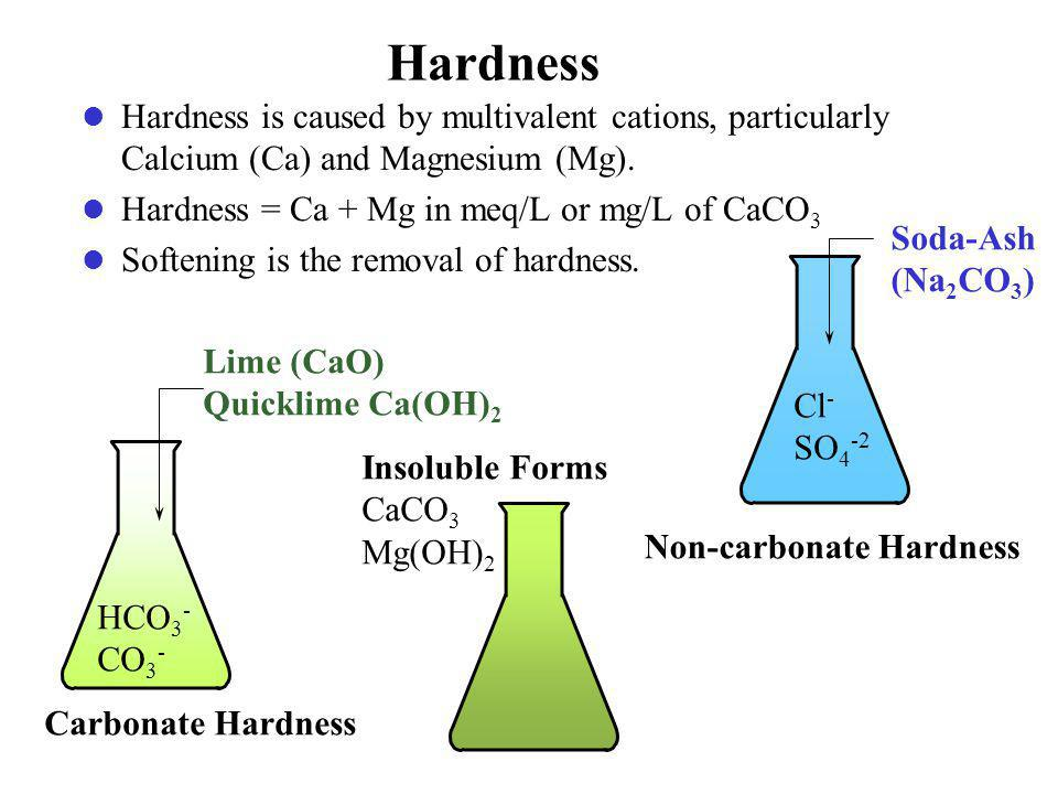Hardness Hardness is caused by multivalent cations, particularly Calcium (Ca) and Magnesium (Mg).