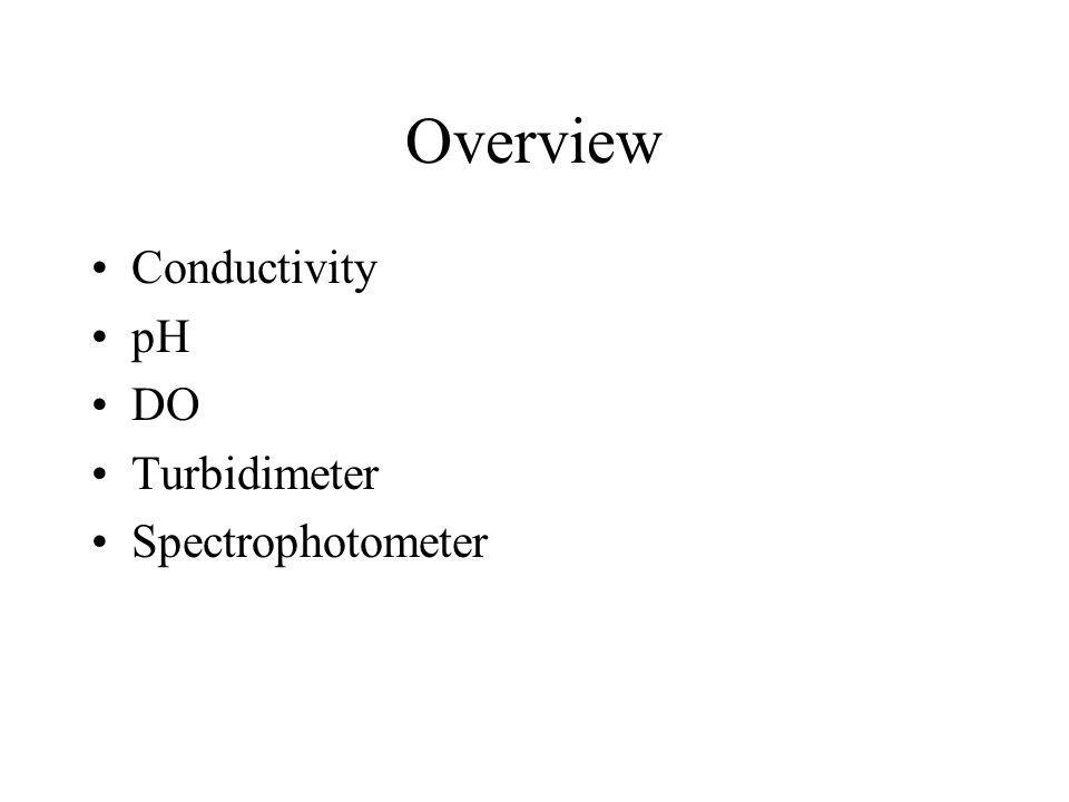 Overview Conductivity pH DO Turbidimeter Spectrophotometer