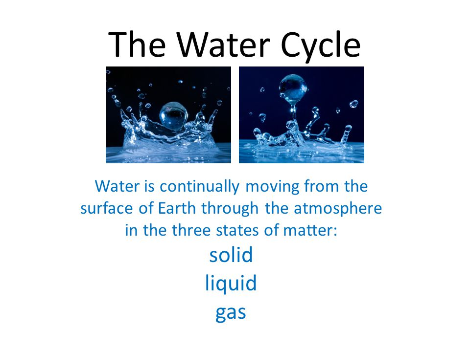 The Water Cycle Water is continually moving from the surface of Earth through the atmosphere in the three states of matter: solid liquid gas