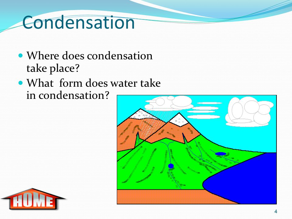 Condensation Where does condensation take place? What form does water take in condensation? 4